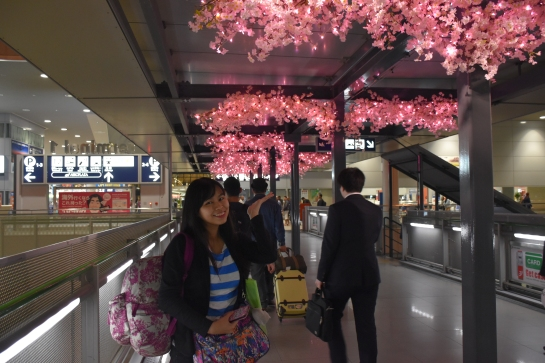 Even at the exit of the airport you can feel the sakura fever